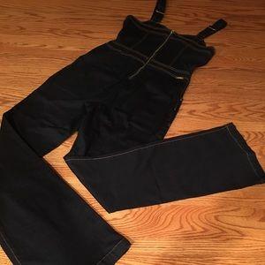 NWOT INC Dark Blue Flare Leg Jean Jumpsuit